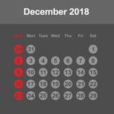Calendario para diciembre de 2018 Foto de archivo libre de regalías