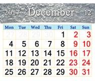 Calendario para diciembre de 2017 con la capa de nieve Foto de archivo libre de regalías