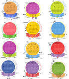 Calendario para el diseño del vector de 2018 años Imagen de archivo