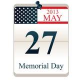 Calendario para el Memorial Day Foto de archivo