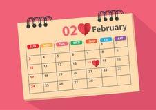 Calendario para el mes del amor fotos de archivo libres de regalías