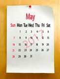 Calendario para el primer de mayo de 2017 Imagen de archivo libre de regalías