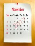 Calendario para el primer de noviembre de 2017 Foto de archivo