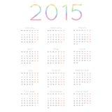 Calendario para el vector 2015 Imagen de archivo libre de regalías
