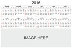 Calendario para 2016 en el fondo blanco Fotos de archivo libres de regalías