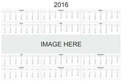 Calendario para 2016 en el fondo blanco Fotografía de archivo