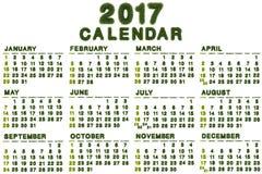 Calendario para 2017 en el fondo blanco Imagen de archivo libre de regalías
