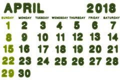 Calendario para 2018 en el fondo blanco Fotografía de archivo