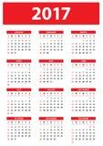 Calendario para 2017 en el fondo blanco - la semana comienza el domingo Fotos de archivo