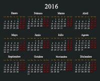 Calendario para 2016 en español Foto de archivo libre de regalías