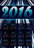 Calendario para 2016 en fondo abstracto azul con las rayas que brillan Fotografía de archivo libre de regalías