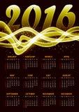 Calendario para 2016 en fondo del plazma del oro Fotos de archivo