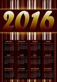 Calendario para 2016 en marrón Imagen de archivo libre de regalías