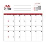 Calendario para enero de 2018 Fotos de archivo libres de regalías