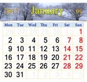 Calendario para enero de 2017 con el río del invierno Imagen de archivo libre de regalías