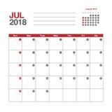 Calendario para julio de 2018 Fotos de archivo libres de regalías
