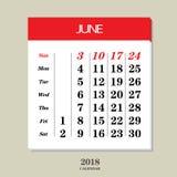 Calendario para junio de 2018 Fotos de archivo libres de regalías