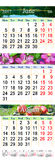 Calendario para junio julio y agosto de 2017 con las imágenes coloreadas Fotos de archivo libres de regalías