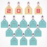 Calendario 2018 para la celebración del Año Nuevo Fotos de archivo