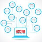 Calendario 2018 para la celebración del Año Nuevo Fotografía de archivo