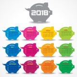Calendario 2018 para la celebración del Año Nuevo Imagen de archivo