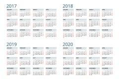 Calendario para 2017, 2018, 2019, 2020 La semana comienza domingo Diseño simple del vector Imagen de archivo