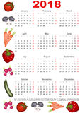 Calendario 2018 para los E.E.U.U. con las diversas verduras Imágenes de archivo libres de regalías