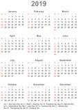 Calendario 2019 para los E.E.U.U. - la semana comienza el domingo ilustración del vector