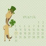 Calendario para marzo de 2014. Imágenes de archivo libres de regalías