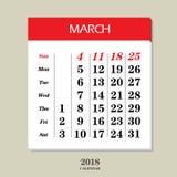 Calendario para marzo de 2018 Foto de archivo
