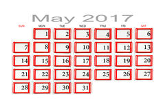 Calendario para mayo de 2017 Imagen de archivo libre de regalías