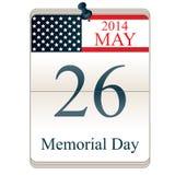 Calendario para Memorial Day Foto de archivo libre de regalías
