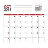 Calendario para octubre de 2018 ilustración del vector
