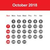 Calendario para octubre de 2018 Imágenes de archivo libres de regalías