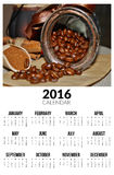 Calendario para 2016 Quiero el café Fotos de archivo