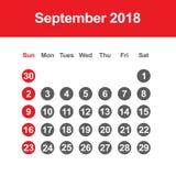 Calendario para septiembre de 2018 Fotografía de archivo