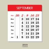 Calendario para septiembre de 2018 Fotos de archivo libres de regalías