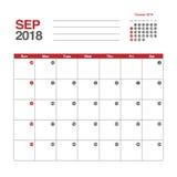 Calendario para septiembre de 2018 Foto de archivo