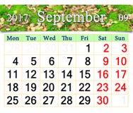Calendario para septiembre de 2017 con la imagen del musgo y de las hojas Imágenes de archivo libres de regalías