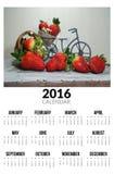 Calendario para 2016 Strawberies dulces Fotografía de archivo