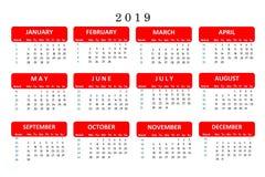 Calendario para 2019, una herramienta popular para las notas importantes y trabajo en la oficina El calendario es su ayudante par libre illustration