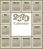 Calendario para 2020 foto de archivo libre de regalías