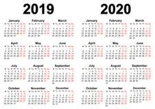 Calendario para 2019 y 2020 Ilustración del Vector