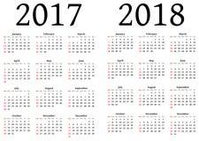 Calendario para 2017 y 2018 Fotos de archivo libres de regalías