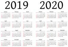 Calendario para 2019 y 2020 Fotos de archivo libres de regalías