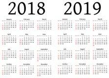 Calendario para 2018 y 2019 Fotos de archivo
