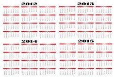 Calendario a partir de 2012 a 2015 Fotos de archivo libres de regalías