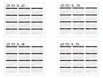 Calendario a partir de 2012 a 2015 Imágenes de archivo libres de regalías