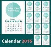 Calendario 2016 a partir de domingo Fotografía de archivo libre de regalías