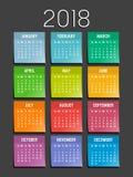 Calendario pegajoso de las notas del año 2018 Foto de archivo